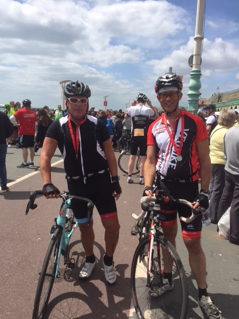 Chris and cycling friend Paul Brooksby after finishing the London to Brighton cycle ride